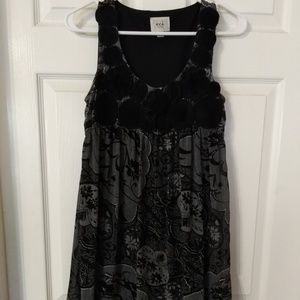 Black and gray floral empire waist dress
